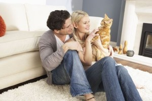 Pet pre-nups - a couple play with their cat