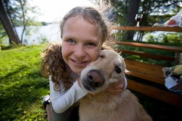 Child and labrador
