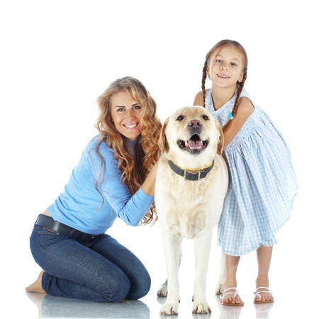 A family with their dog