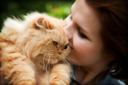 A cat owner kisses her pet