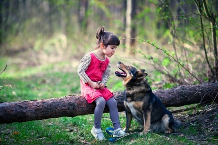 A girl plays with her pet dog