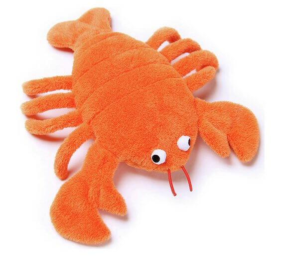 Petface Bright Orange Plush & Rubber Lobster gift for Valentine's Day