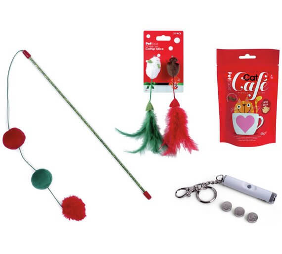 Petface Cat Toy Bundle with Treats, Pom Poms on a String, Feather Tailed Mice and a Laser Pointer Valentine's Gift Ideas